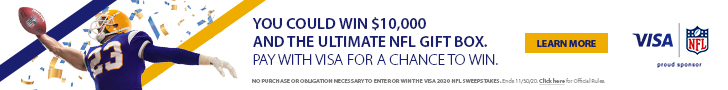 win 10 thousand dollars and the ultimate nfl gift box pay with visa for a chance to win